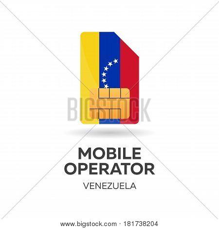 Venezuela Mobile Operator. Sim Card With Flag. Vector Illustration.