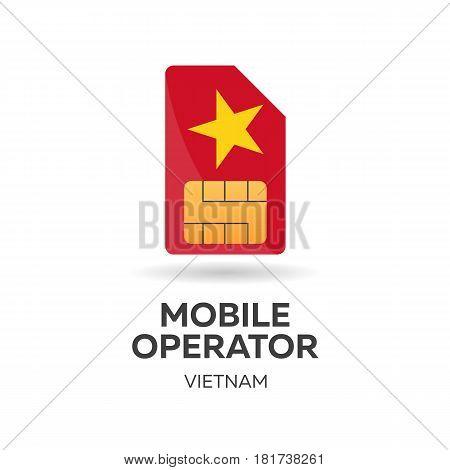 Vietnam Mobile Operator. Sim Card With Flag. Vector Illustration.