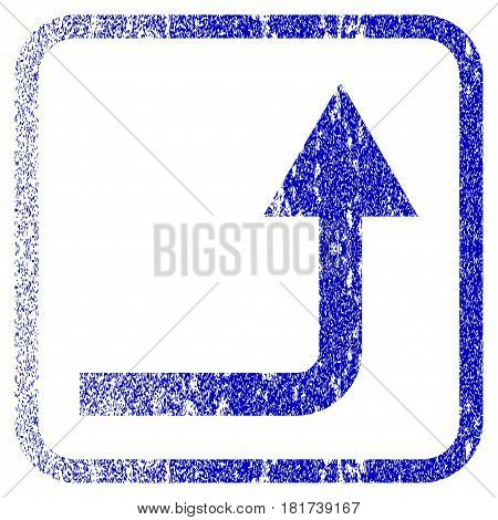 Turn Forward textured icon for overlay watermark stamps. Blue vectorized texture. Flat vector symbol with dirty design inside rounded square frame. Framed blue rubber seal stamp imitation.