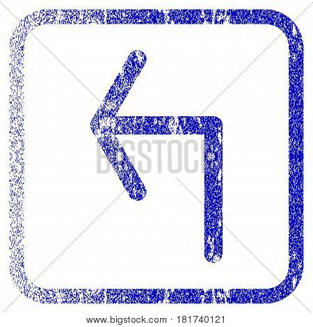Turn Left textured icon for overlay watermark stamps. Blue vectorized texture. Flat vector symbol with dust design inside rounded square frame. Framed blue rubber seal stamp imitation.