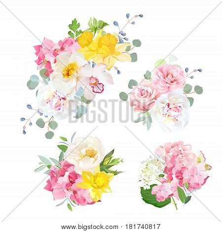 Spring delicate bouquets vector design objects. Pink rose, peony, orchid, yellow daffodil, hydrangea flowers, eucalyptus, blue berries, camellia. All elements are isolated and editable