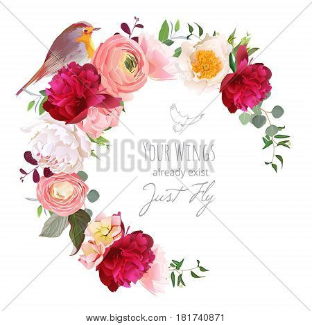 Elegant floral vector round frame with ranunculus, peony, rose, green plants and small robin bird on white. Burgundy red, peachy and white flowers. Crescent shape bouquet. All elements are editable.