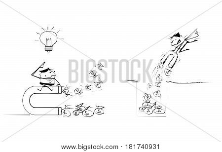 Vector illustration draw doodle businessman cartoon. Super businessman have an idea for attracts money with large magnet. Business concept for financial, business success, investments, wealth concept