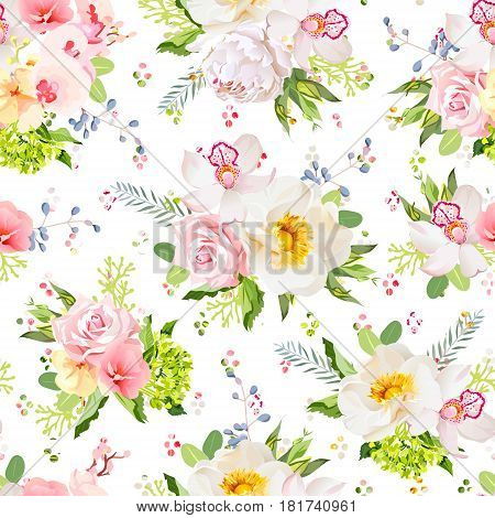 Pretty summer garden seamless vector design print. Wild rose, orchid, peony, fresh green leaves, blue berries. Rainbow round blob confetti pattern.