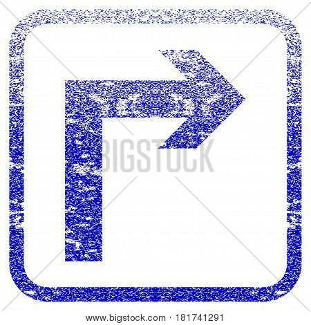 Turn Right textured icon for overlay watermark stamps. Blue vectorized texture. Flat vector symbol with dust design inside rounded square frame. Framed blue rubber seal stamp imitation.