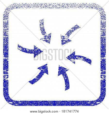Twirl Arrows textured icon for overlay watermark stamps. Blue vectorized texture. Flat vector symbol with scratched design inside rounded square frame. Framed blue rubber seal stamp imitation.