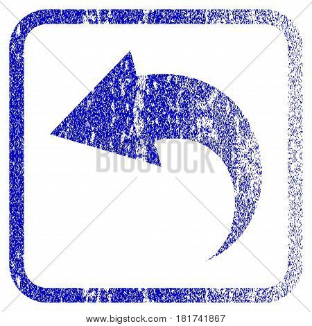 Undo textured icon for overlay watermark stamps. Blue vectorized texture. Flat vector symbol with dirty design inside rounded square frame. Framed blue rubber seal stamp imitation.