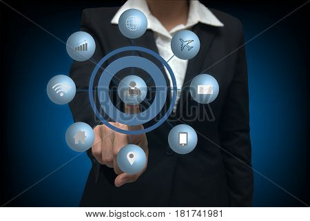 Busines women pressing virtual media type of buttons