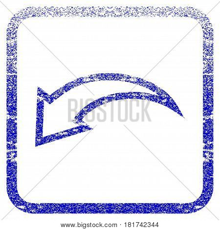 Undo textured icon for overlay watermark stamps. Blue vectorized texture. Flat vector symbol with scratched design inside rounded square frame. Framed blue rubber seal stamp imitation.