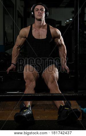 Guy Resting In Healthy Club Gym