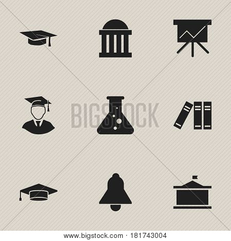 Set Of 9 Editable Graduation Icons. Includes Symbols Such As Graduate, Diplomaed Male, Courtroom And More. Can Be Used For Web, Mobile, UI And Infographic Design.