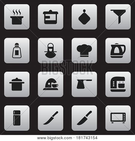 Set Of 16 Editable Meal Icons. Includes Symbols Such As Mixer, Pot-Holder, Cook Cap And More. Can Be Used For Web, Mobile, UI And Infographic Design.