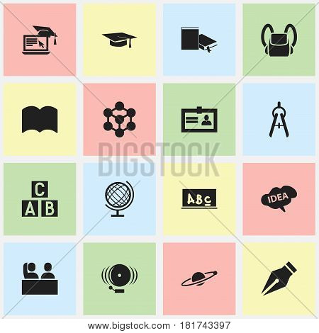 Set Of 16 Editable University Icons. Includes Symbols Such As Mind, Distance Learning, Schoolbag And More. Can Be Used For Web, Mobile, UI And Infographic Design.