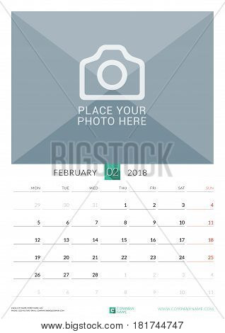 February 2018. Wall Monthly Calendar For 2018 Year. Vector Design Print Template With Place For Phot