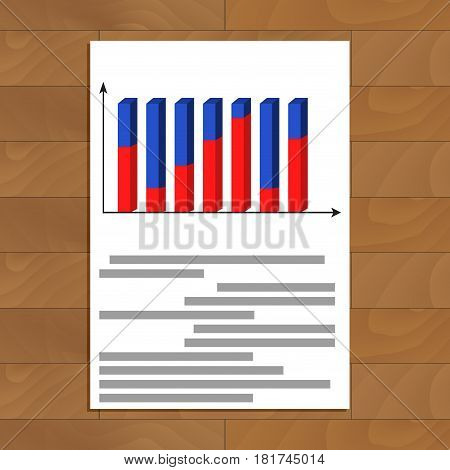 Document with 3d graphic. Infochart colored analysis diagram finance vector illustration