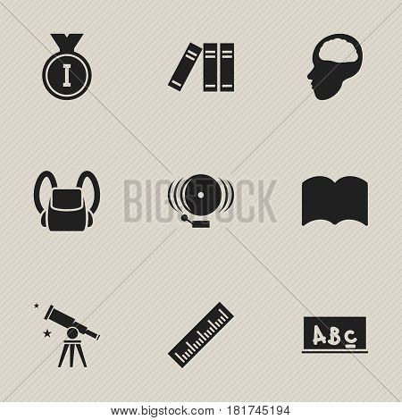 Set Of 9 Editable Science Icons. Includes Symbols Such As Dictionary, Cerebrum, Straightedge And More. Can Be Used For Web, Mobile, UI And Infographic Design.