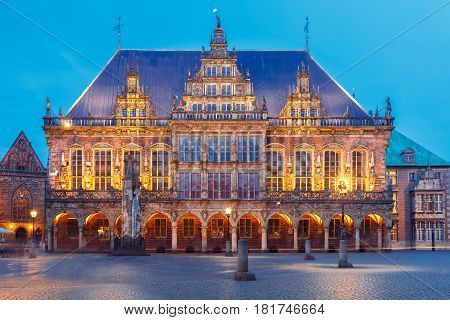 Famous City Hall on the ancient Market Square in the centre of the Hanseatic City of Bremen, Germany