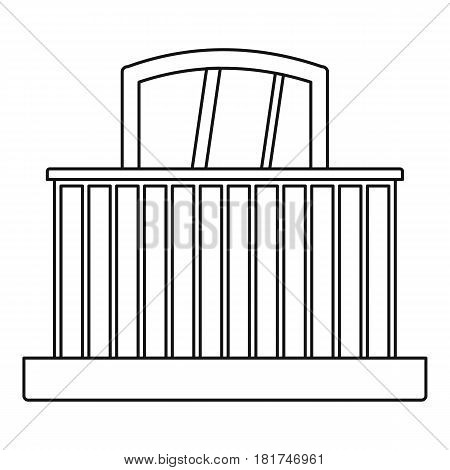 Balcony with railing icon. Outline illustration of balcony with railing vector icon for web