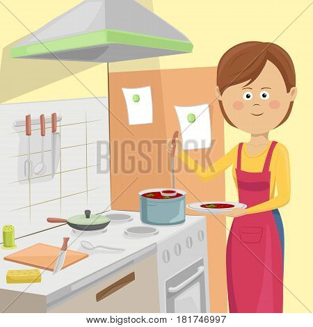 Housewife serving vegetable soup in the kitchen