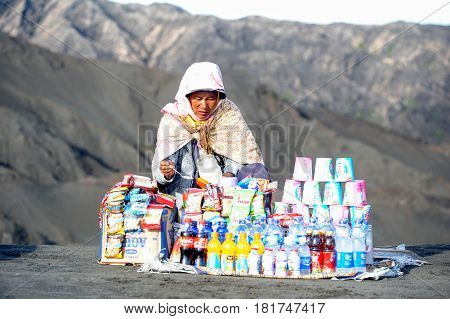 Woman Selling Food And Beverages On Mt.bromo National Park
