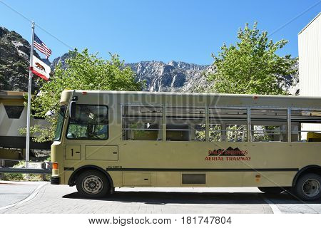 PALM SPRINGS, CA - MARCH 25, 2017: Palm Springs Aerial Tramway Shuttle Bus. Since 1963 nearly 18 million people have traveled the 10-minute, 2.5-mile ride to the Mountain Station.