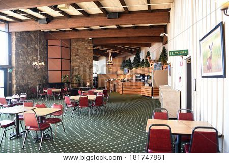 PALM SPRINGS, CA - MARCH 25, 2017: Pines Cafe at the Palm Springs Aerial Tramway Mountain Station. Since 1963 nearly 18 million people have traveled the 2.5-mile ride to the Mountain Station.