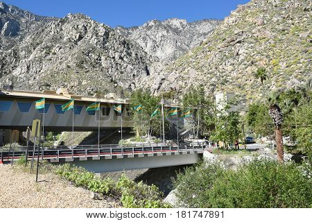 PALM SPRINGS, CA - MARCH 25, 2017: Palm Springs Aerial Tramway Valley Station. Since 1963 nearly 18 million people have traveled the 10-minute, 2.5-mile ride to the Mountain Station.