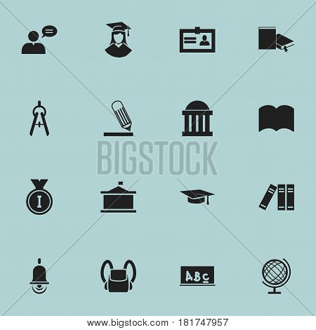 Set Of 16 Editable Education Icons. Includes Symbols Such As Writing, Bookshelf, Math Tool And More. Can Be Used For Web, Mobile, UI And Infographic Design.