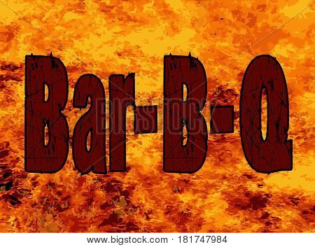 The text Bar B Q set into a roaring flames background