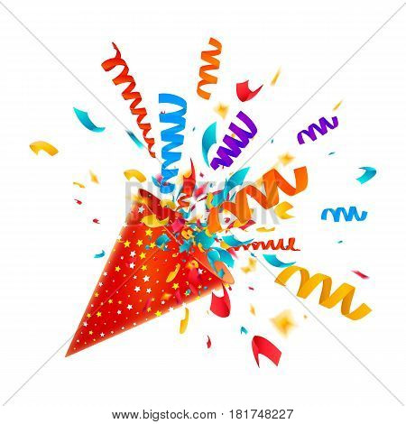 Exploding party popper with streamers and confetti isolated on white background. Colorful confetti explosion. Surprise icon concept. Vector illustration