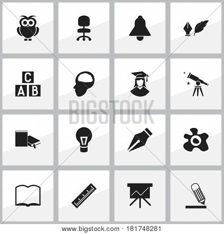 Set Of 16 Editable University Icons. Includes Symbols Such As Omelette, Straightedge, Lamp And More. Can Be Used For Web, Mobile, UI And Infographic Design.