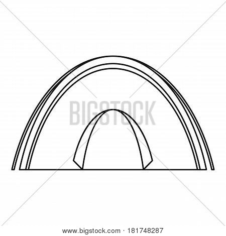Dome tent icon. Outline illustration of dome tent vector icon for web