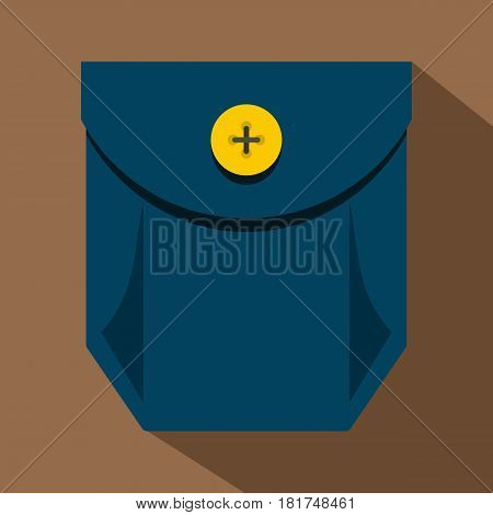 Blue jeans pocket with yellow button icon. Flat illustration of blue jeans pocket with yellow button vector icon for web on coffee background