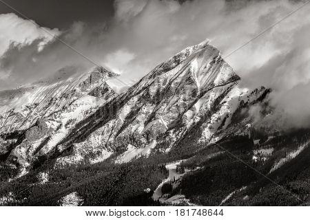 Petite and Grande Autane mountain peaks in Winter (Black & White). Champsaur Hautes Alpes Southern French Alps France