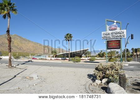 PALM SPRINGS, CA - MARCH 24, 2017: Tramway Gas Station, Palm Springs. The station built in 1965 now serves as the Palm Springs Visitor Center.