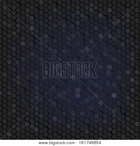 Abstract background of black hexagons. Wallpapers for web sites. Small honeycombs are connected. Luminous blue background in the background. 3D vector illustration