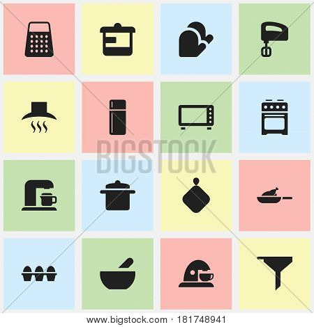 Set Of 16 Editable Cook Icons. Includes Symbols Such As Soup, Filtering, Cup And More. Can Be Used For Web, Mobile, UI And Infographic Design.