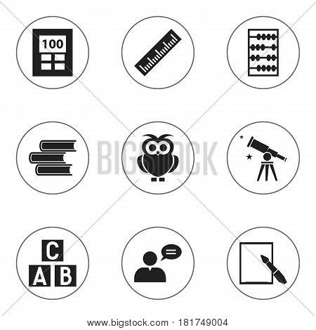 Set Of 9 Editable University Icons. Includes Symbols Such As Alphabet Cube, Straightedge, Arithmetic And More. Can Be Used For Web, Mobile, UI And Infographic Design.