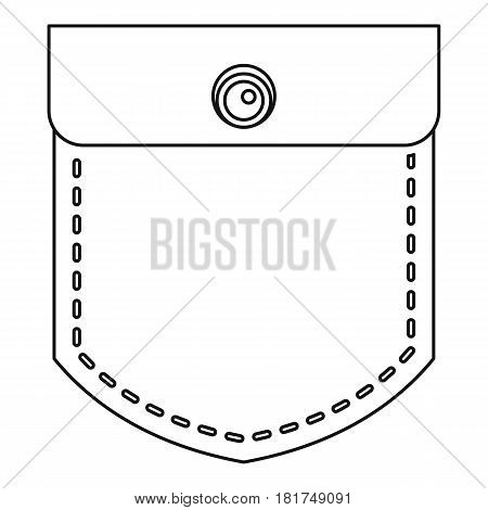 Pocket with a button icon. Outline illustration of pocket with a button vector icon for web