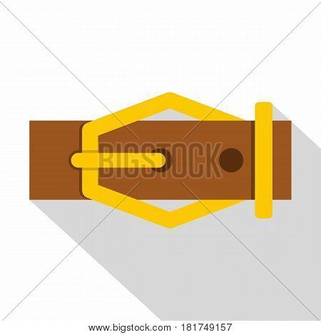 Brown leather belt icon. Flat illustration of brown leather belt vector icon for web on white background