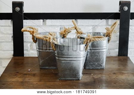 Rope Flowerpot Made By Galvanized Iron For Decorate Your Home