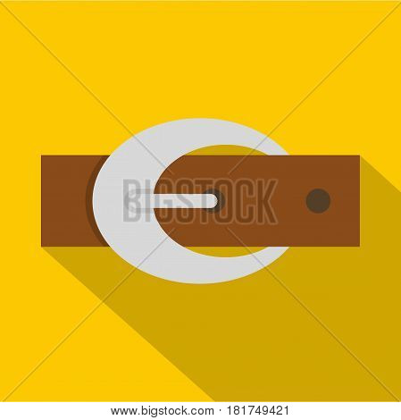 Brown elegant leather belt with silver buckle icon. Flat illustration of brown elegant leather belt with silver buckle vector icon for web on yellow background