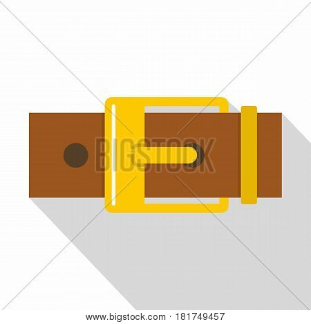 Belt with yellow square buckle icon. Flat illustration of belt with yellow square buckle vector icon for web on white background