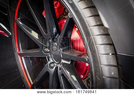 Close up of sport car alloy wheel
