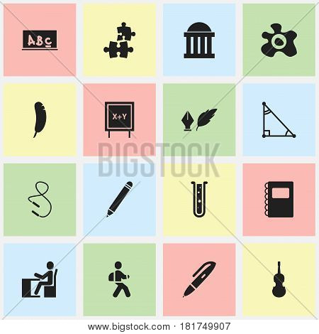 Set Of 16 Editable Science Icons. Includes Symbols Such As Schoolboy, Feather, Blackboard And More. Can Be Used For Web, Mobile, UI And Infographic Design.