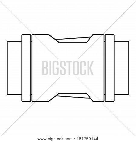 Locked black plastic buckle on strap icon. Outline illustration of locked black plastic buckle on strap vector icon for web