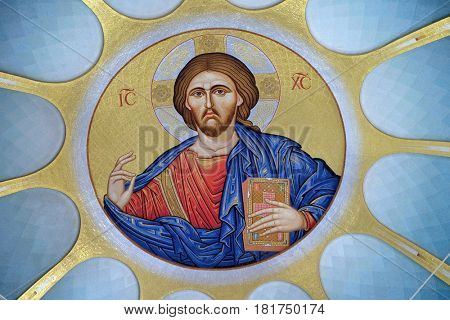 TIRANA, ALBANIA - SEPTEMBER 27: Christ Pantocrator within dome of Orthodox Cathedral of the Resurrection of Christ in Tirana, Albania on September 27, 2016.