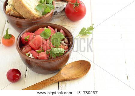 Homemade sauce pico de gallo salsa, selective focus