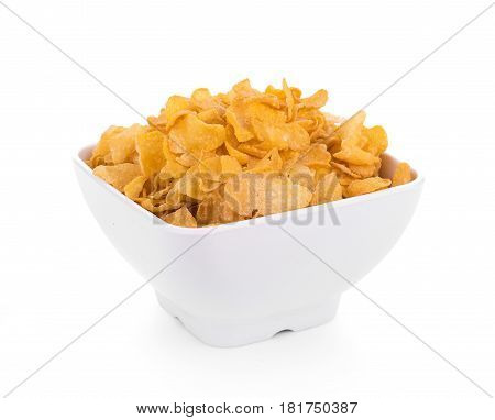Closeup Corn flakes isolated on white background