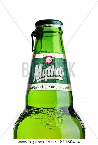 London, Uk - March 15, 2017:  Bottle Of Mythos Beer On White. Made By The Mythos Brewery Company, Th